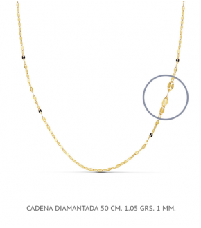Cadena oro 18 quilates diamantada 50cm