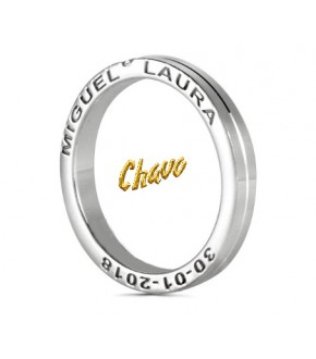 Anillo de boda oro amarillo y blanco, 3mm